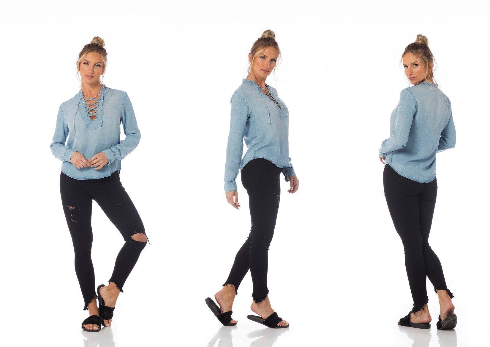camisa jeans solta clara dz11121 tripla denim zero