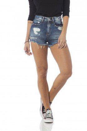 shorts jeans setentinha com puidos dz6229 frente proximo denim zero