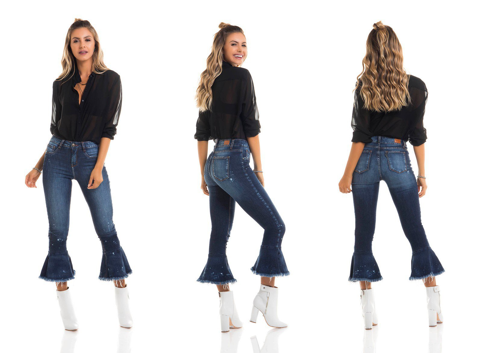 dz2691 calca boot cut cropped media tripla