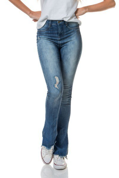 dz2690 calca new boot cut media desfiada frente proximo