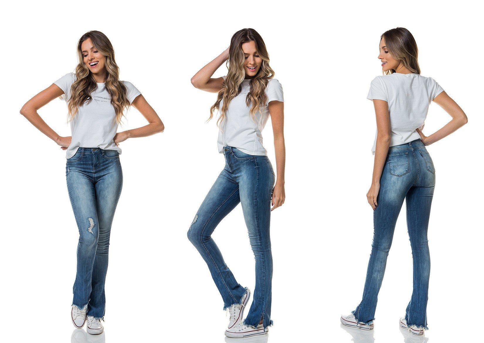 eb009401c Calça Jeans Feminina New Boot Cut Média Barra Destroyed - DZ2690