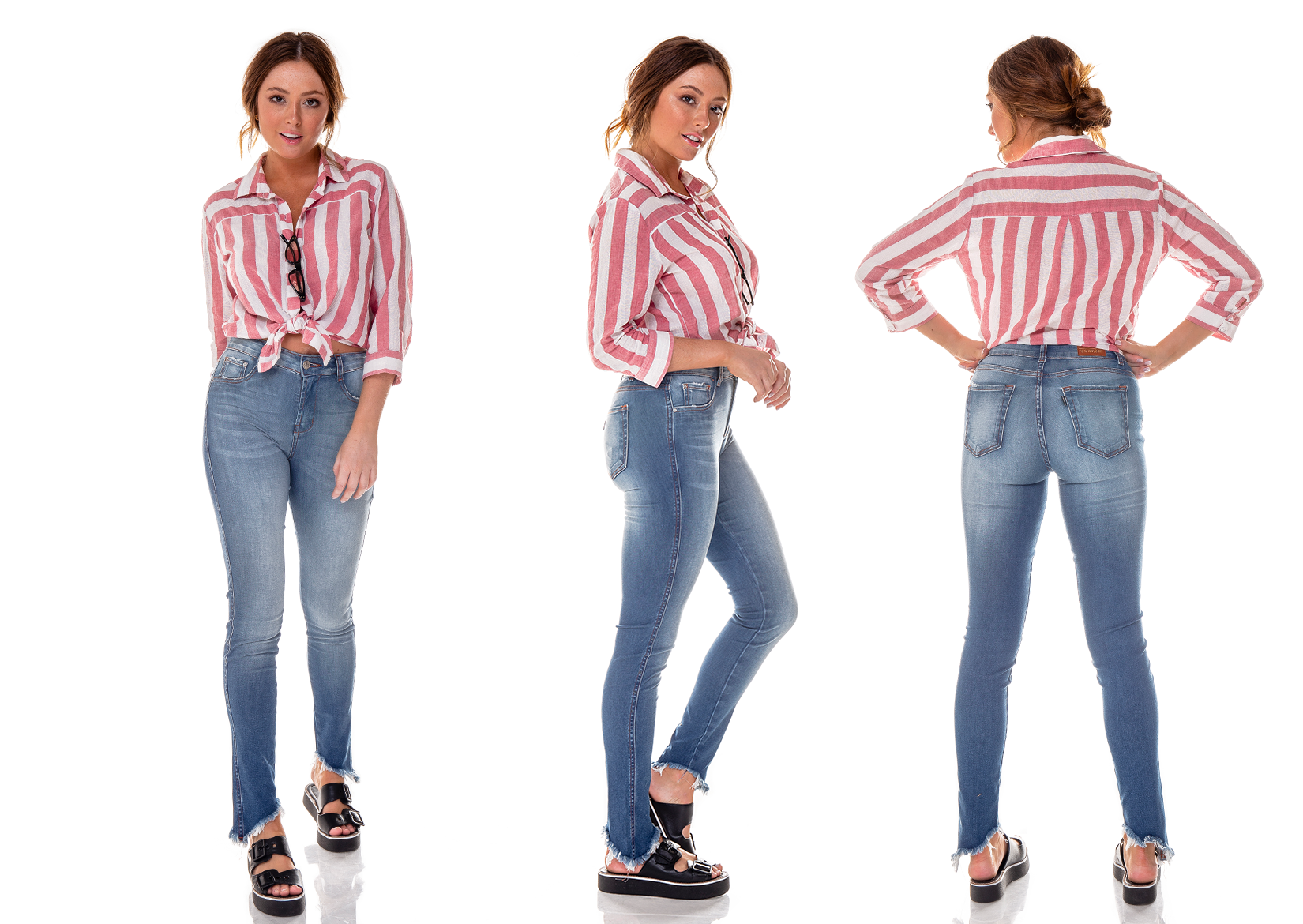 dz2701 calca skinny media barra inclinada denim zero trio