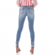 dz2700 calca skinny media barra irregular denim zero costas proximo