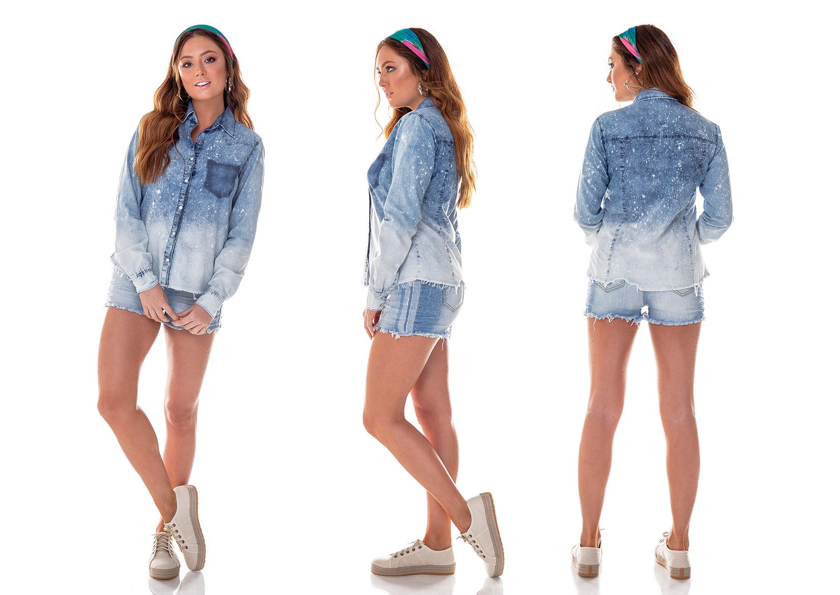 9e0d8bce31 Camisa Solta Jeans Feminina Manga Longa Respingos - DZ11126