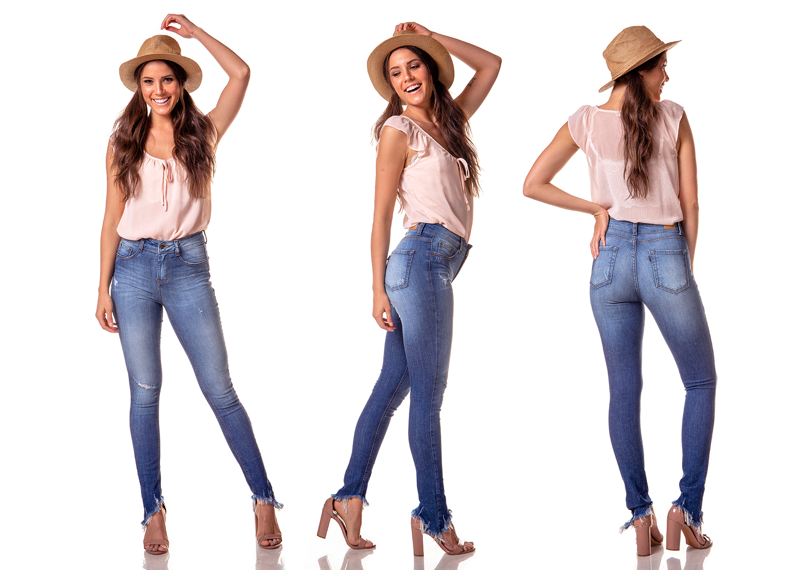 dz2719 calca skinny media barra destroyed denim zero tripla