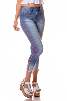 dz2725 calca skinny cropped media com listras denim zero frente cortada