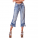dz2731 calca wide cropped com cinto denim zero frente cortada