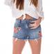 dz6234 shorts young com bordado denim zero frente cortado