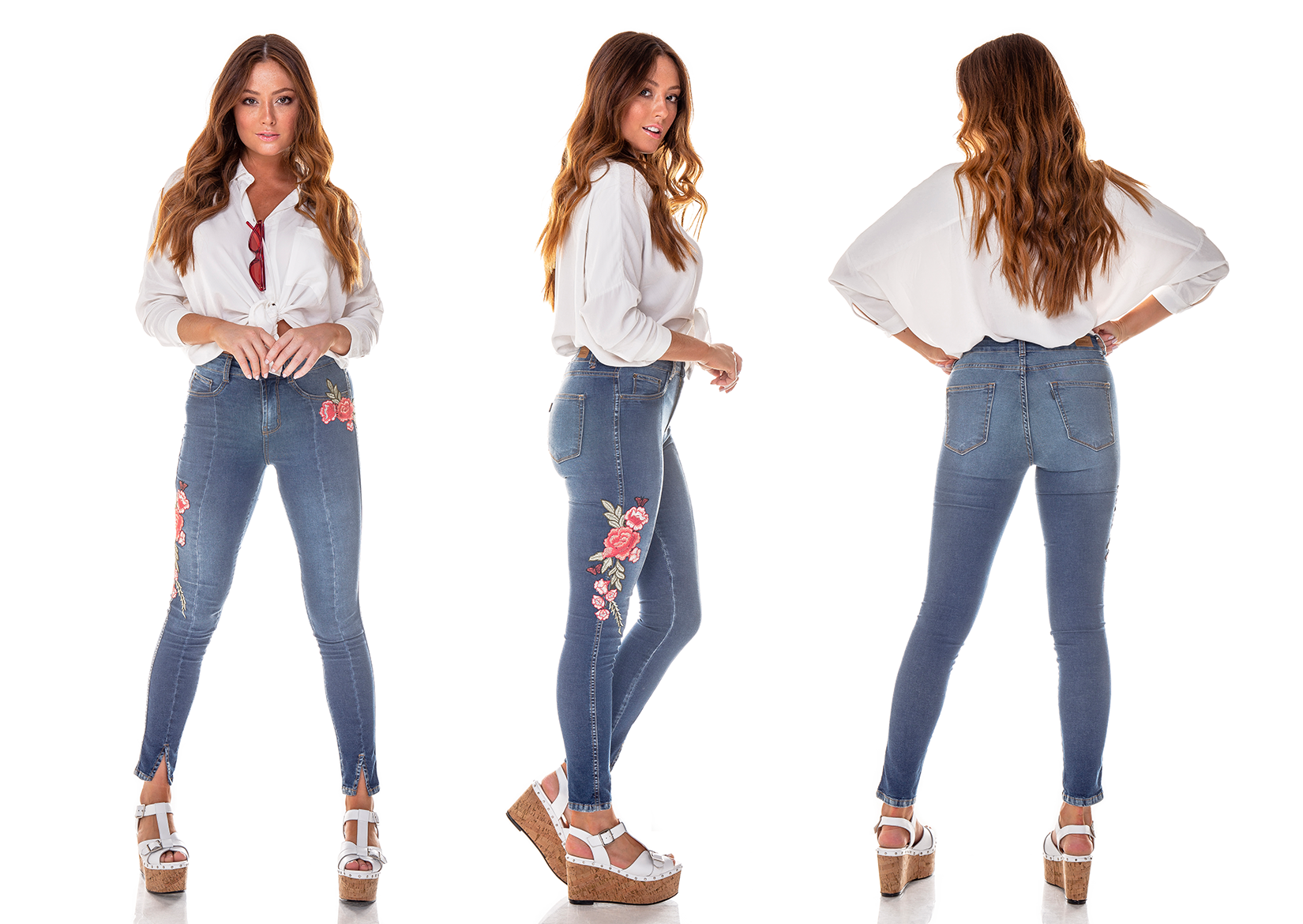 dz2704 calca skinny gigarrete media bordado denim zero tripla