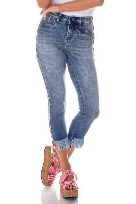 dz2705 calca skinny cropped media desfiada denim zero frente cortada