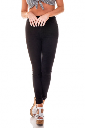 dz2695 11 preto calca skinny cintura alta black and white denim zero frente proxima