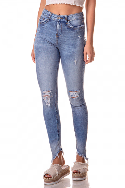 dz2737 calca skinny media barra inclinada denim zero frente cortada