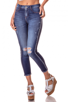 dz2740 calca skinny cropped media rasgos e marcalcao na lateral denim zero frente cortada