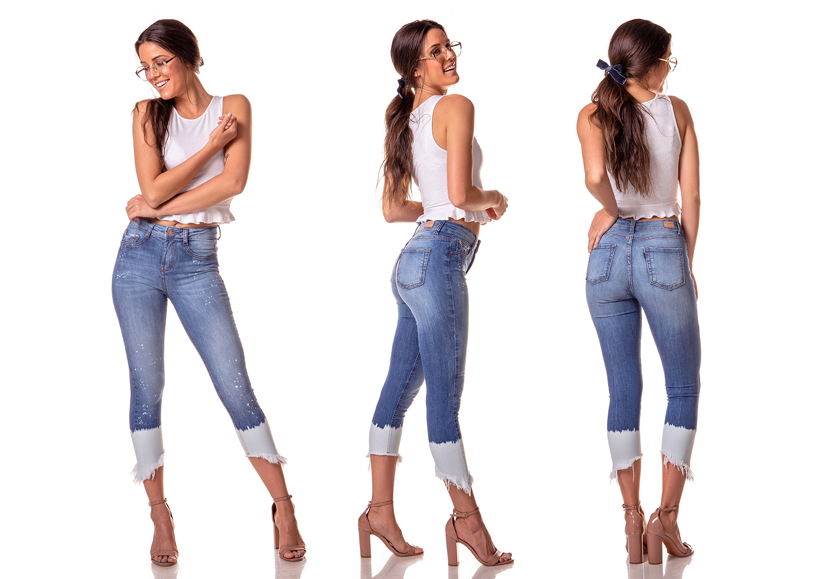 dz2741 calca skinny cropped media barra clara denim zero tripla