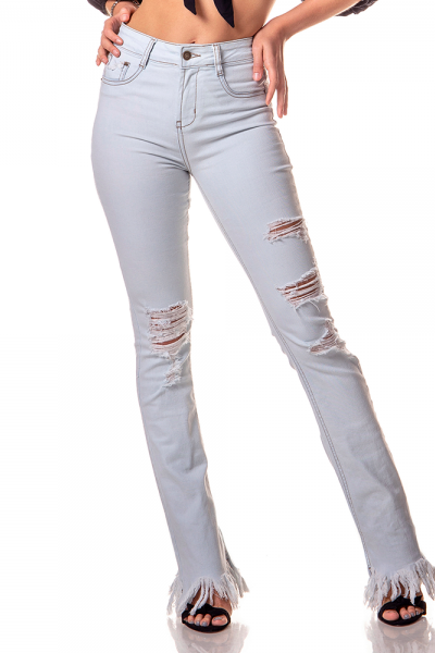 dz2743 calca boot cut media clara rasgada denim zero frente cortada