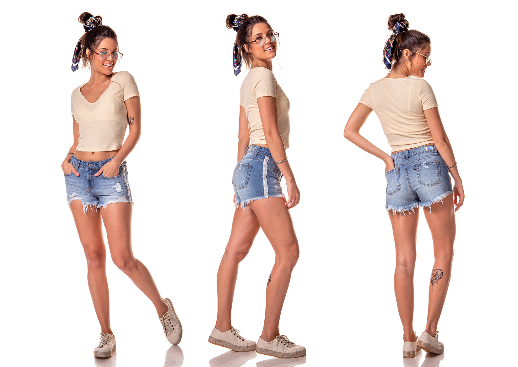 dz6241 shorts young com rasgos e fita lateral denim zero tripla