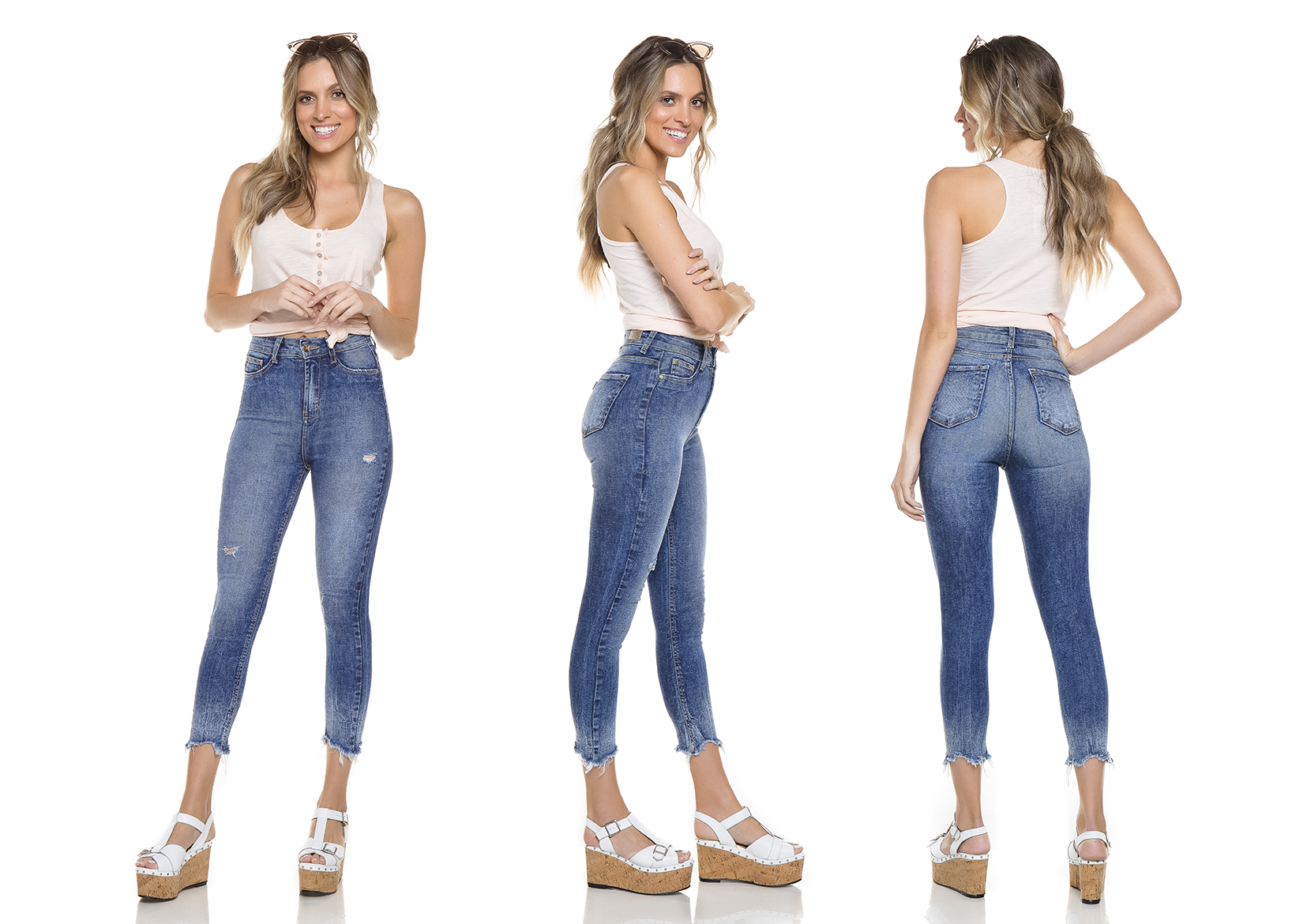 dz2759 calca skinny cropped hot pants tripla denim zero