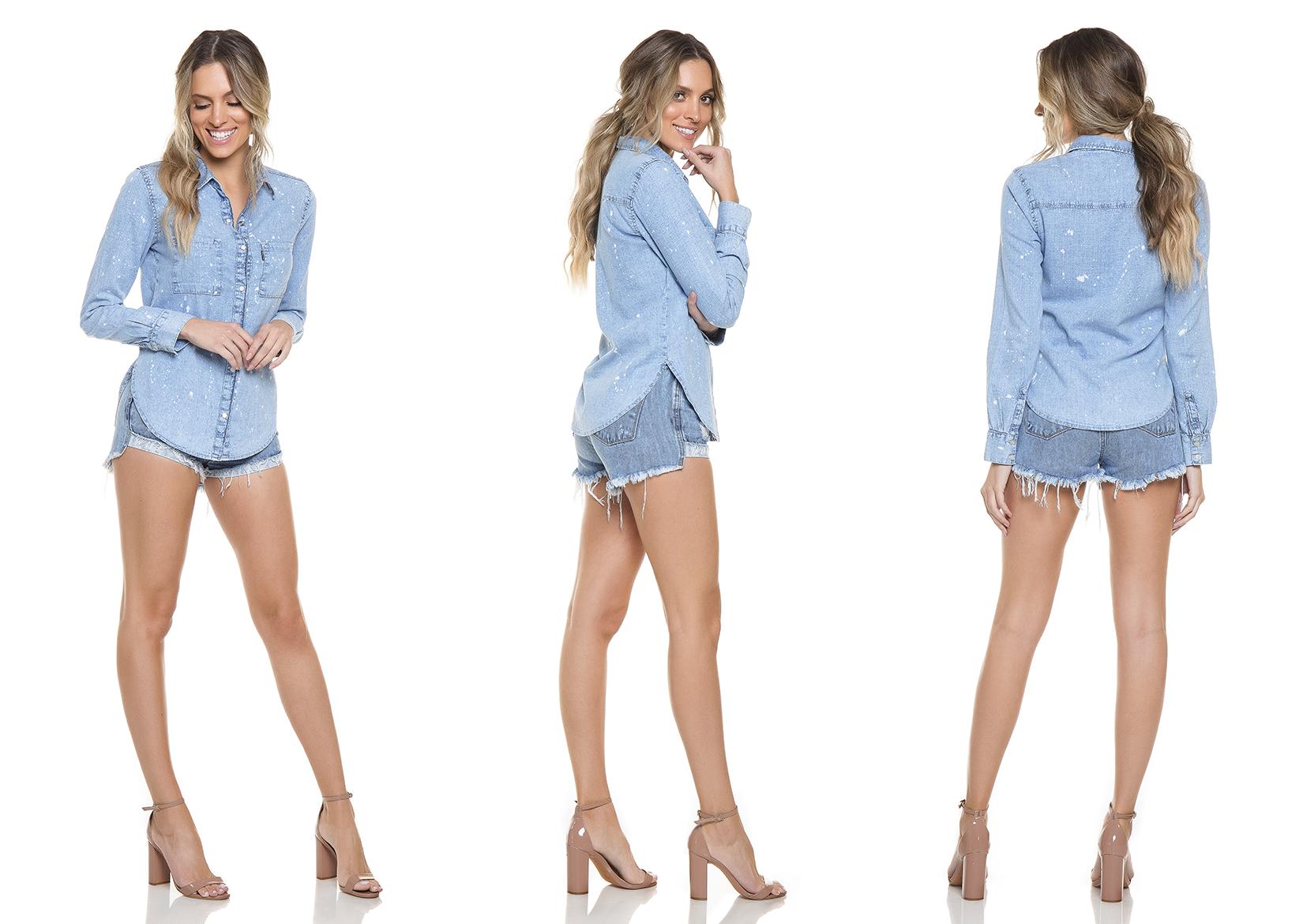 dz11129 camisa jeans solta tripla denim zero