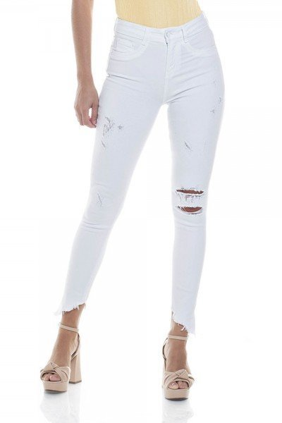 dz2819 branca calca skinny media cigarrete rasgos zoom frente