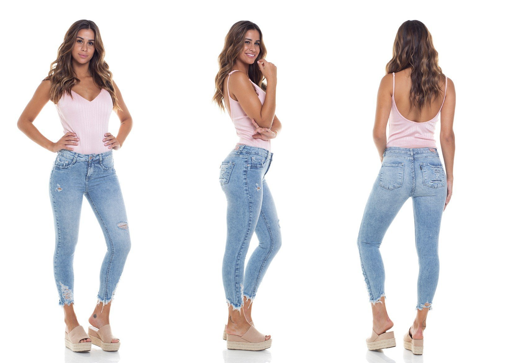 dz2802 calca skinny cropped media tripla