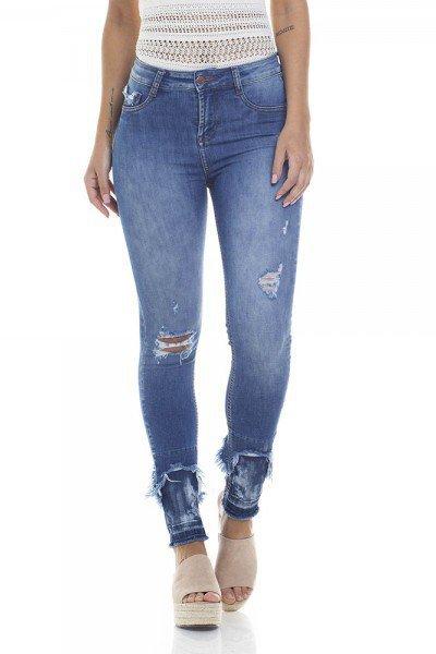 2d2132e892 Calça Jeans Feminina Skinny Média Cigarrete Barra Destroyed - DZ2810