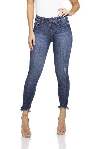 65c01e03c03 Calça Jeans Feminina Skinny Cropped Média Barra Desfiada-DZ2841. dz2841  calca skinny cropped media frente prox