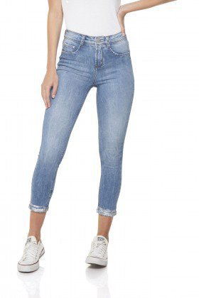 dz2842 calca jeans skinny cropped media barra denim zero frente prox