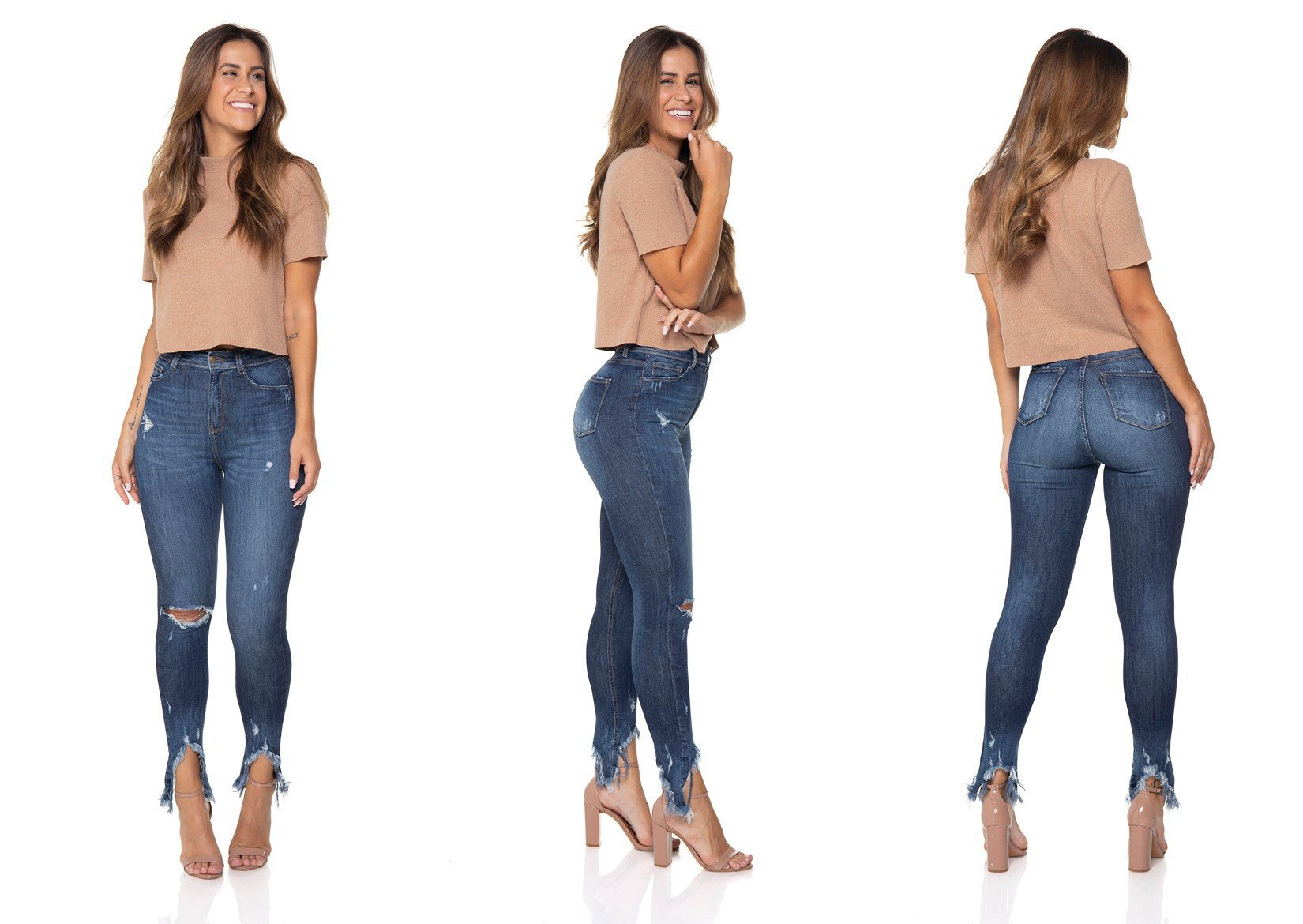 dz2844 calca jeans skinny cigarrete hot pants denim zero tripla