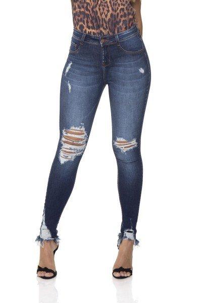dz2856 calca jeans skinny media cigarrete com rasgos denim zero frente prox