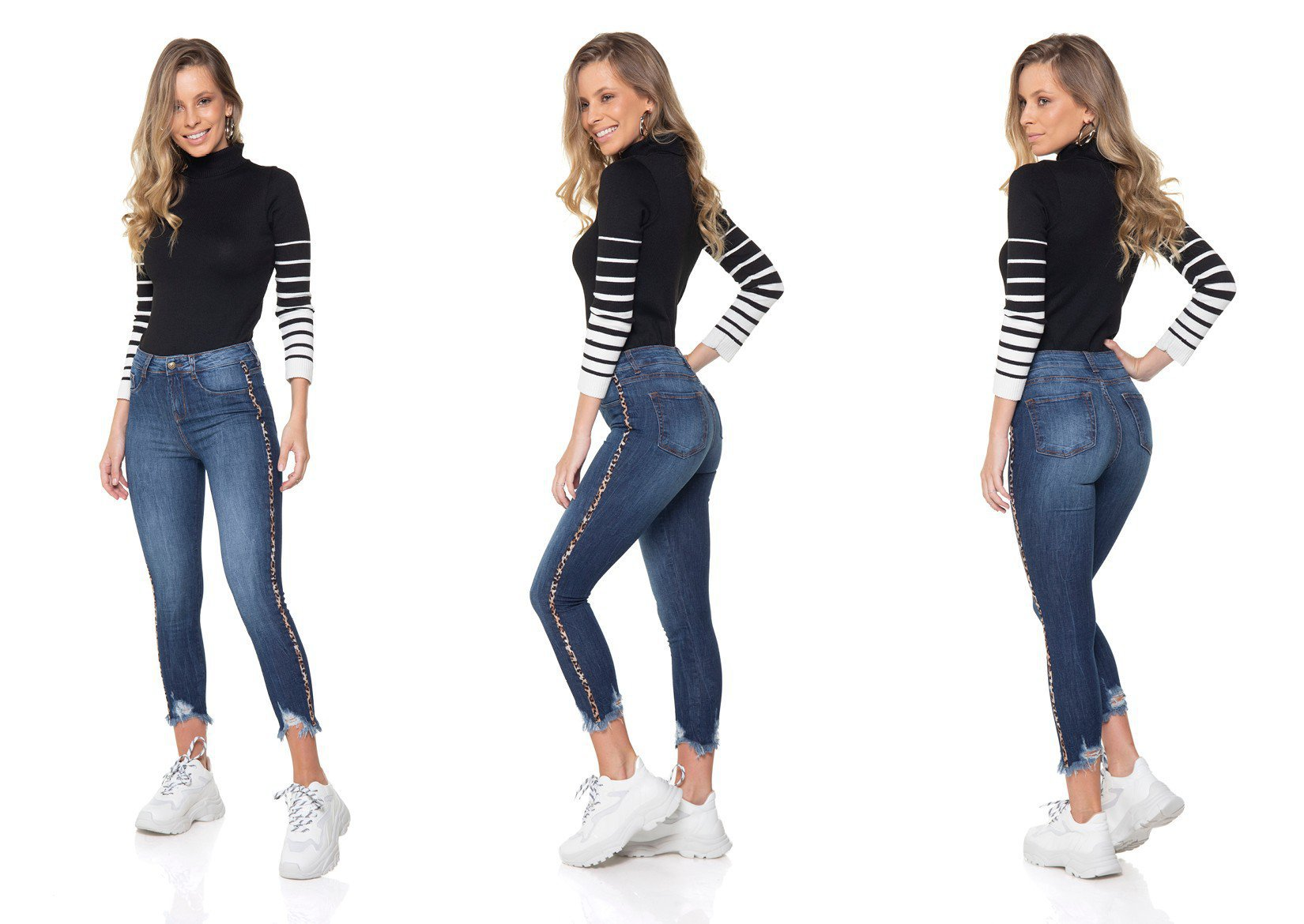 dz2862 calca jeans skinny cropped media denim zero tripla