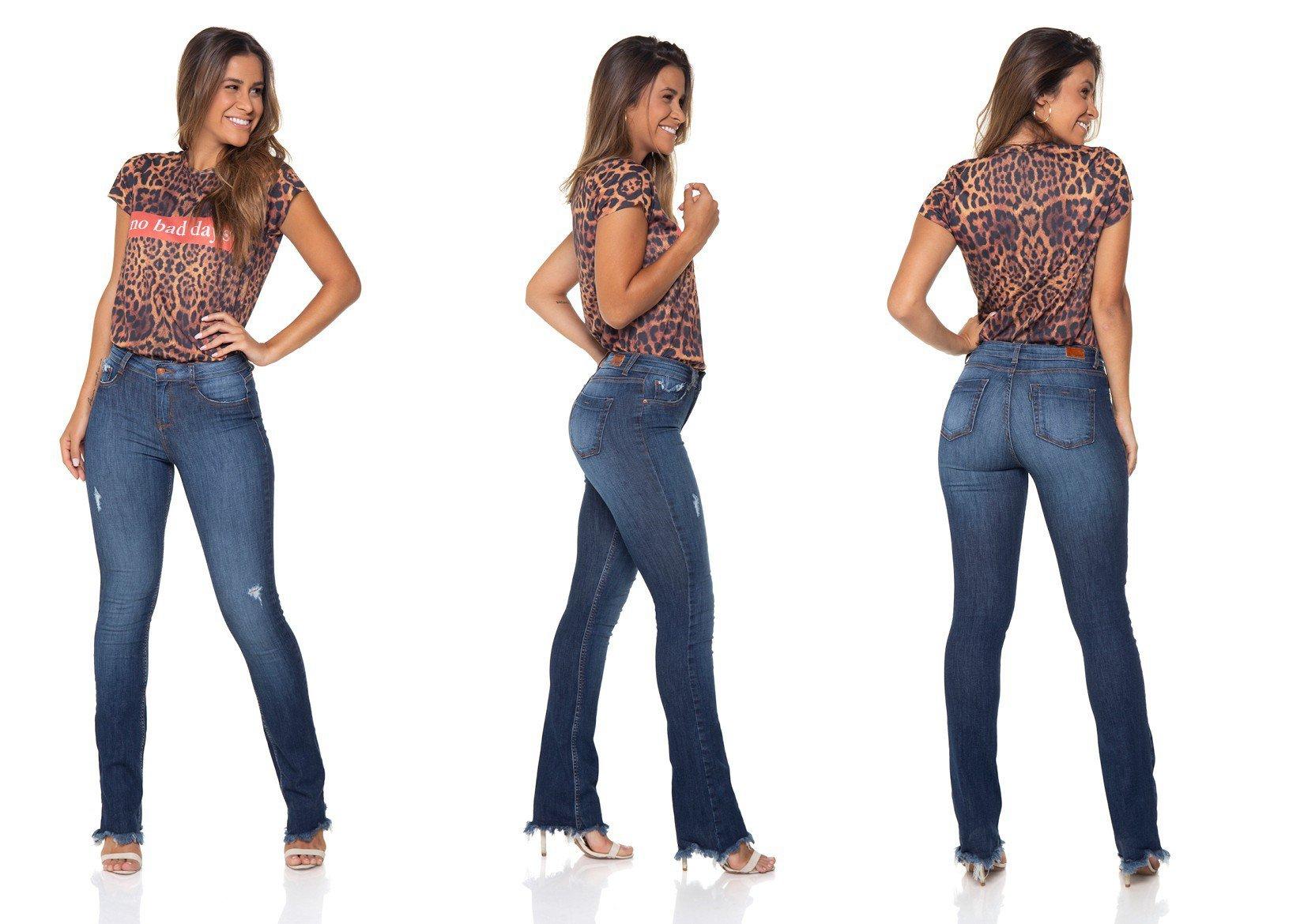 dz2863 calca jeans boot cut media estonada denim zero tripla