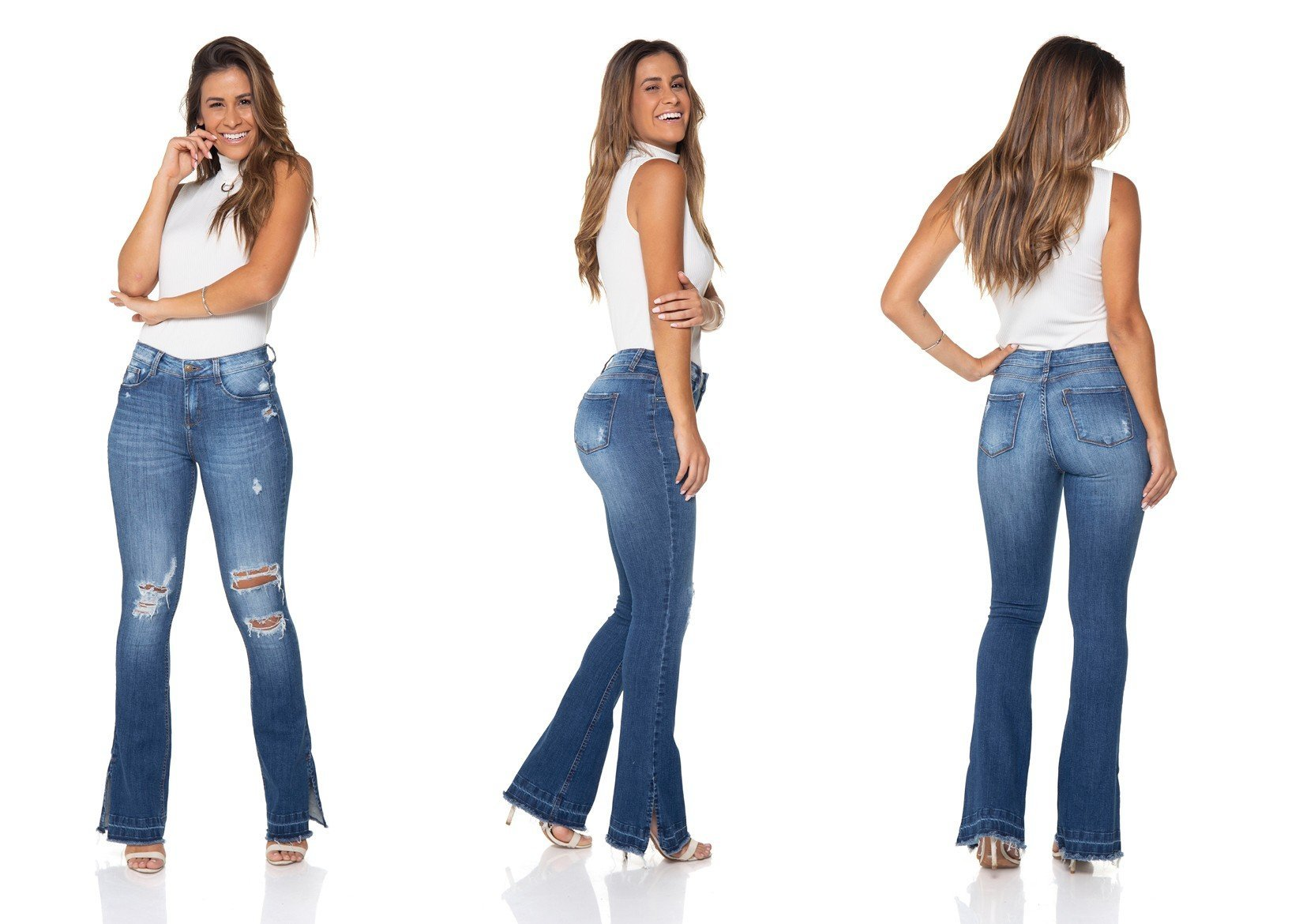 dz2864 calca jeans flare media denim zero tripla