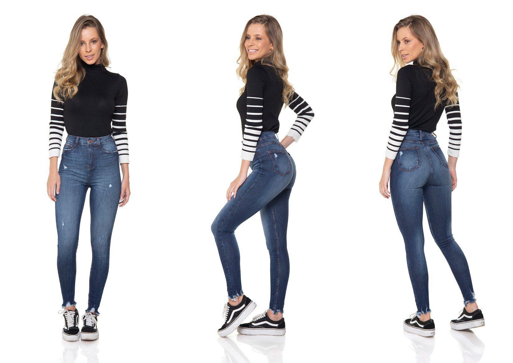 dz2865 calca jeans skinny hot pants cigarrete denim zero tripla