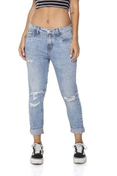 dz2867 calca jeans girlfriend com rasgos denim zero frente prox