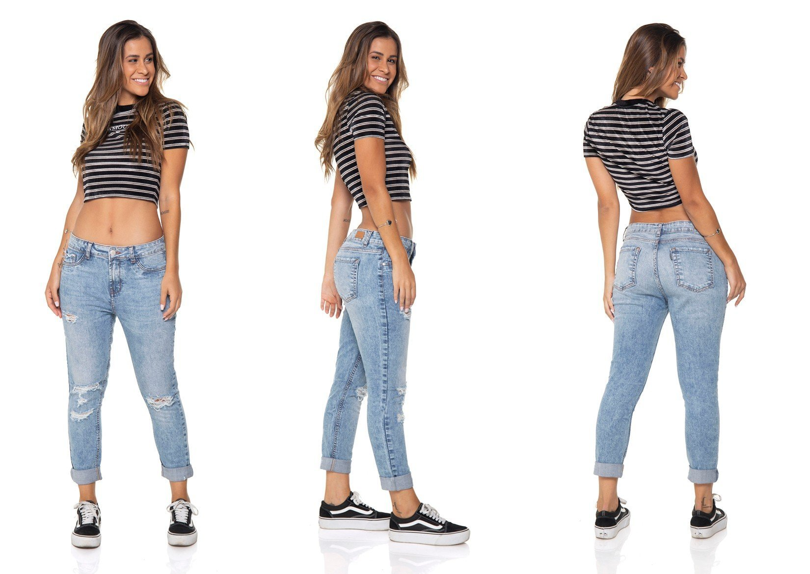 dz2867 calca jeans girlfriend com rasgos denim zero tripla