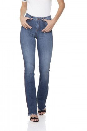 dz2895 calca jeans flare media com listra lateral denim zero frente prox