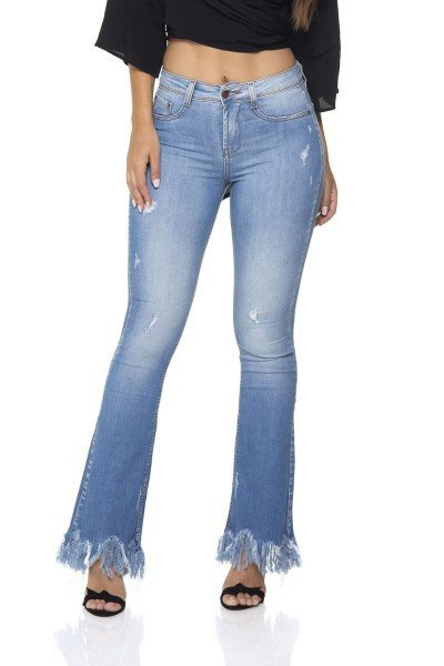 dz2896 calca jeans flare media barra desfiada denim zero frente prox