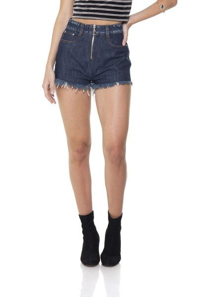 dz6288 shorts jeans setentinha com ziper denim zero frente prox