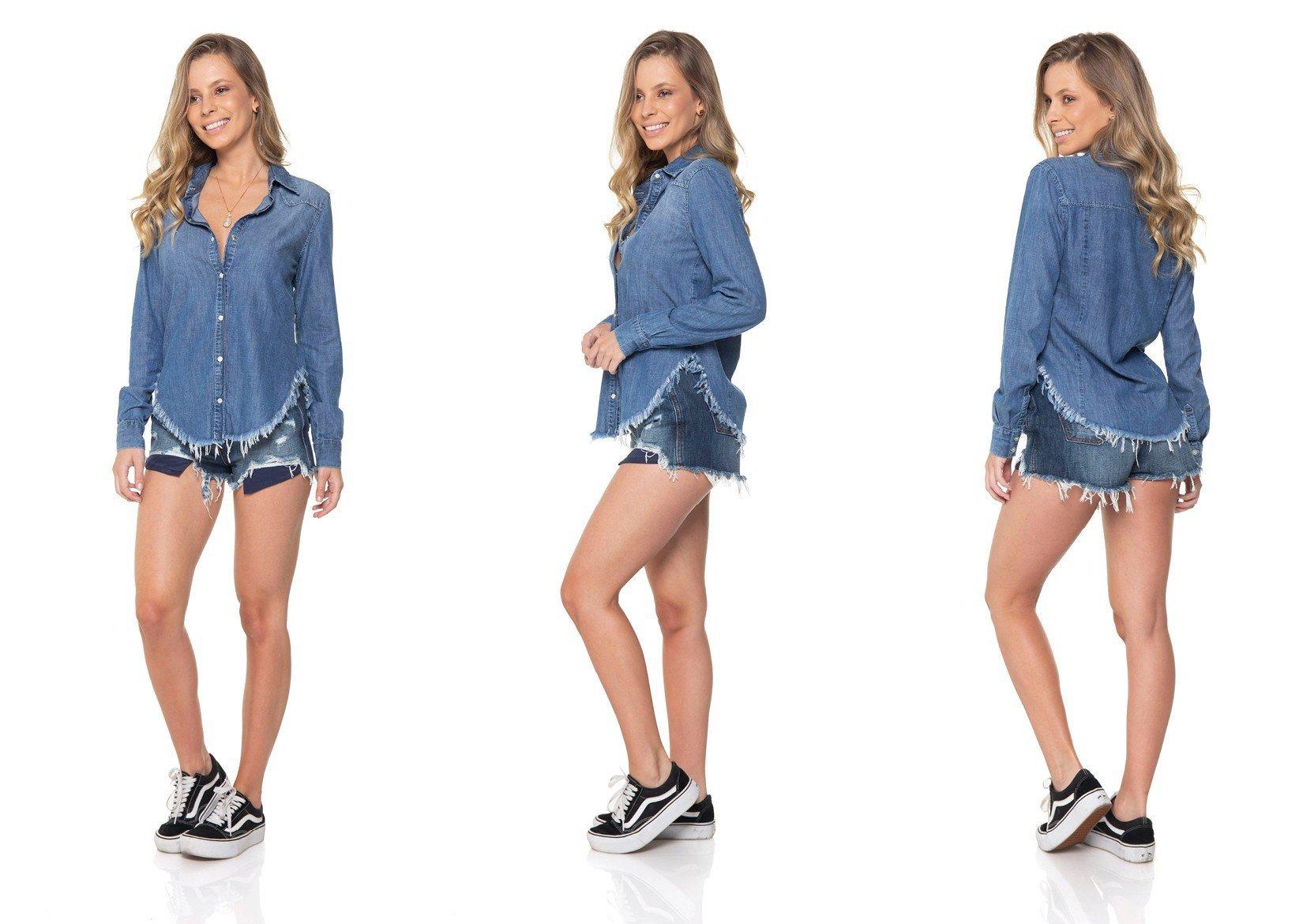 dz11135 camisa jeans barra desfiada denim zero tripla