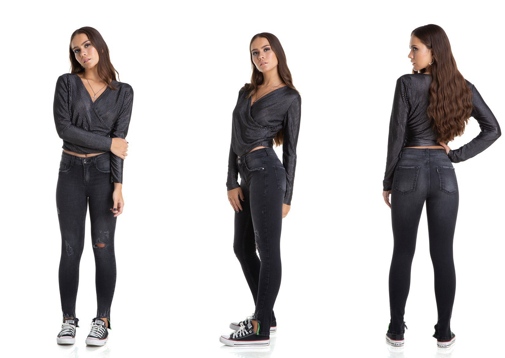 dz2881 calca skinny cigarrete media black neon denim zero trio
