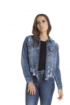 dz9089 jaqueta regular destroyed denim zero frente crop