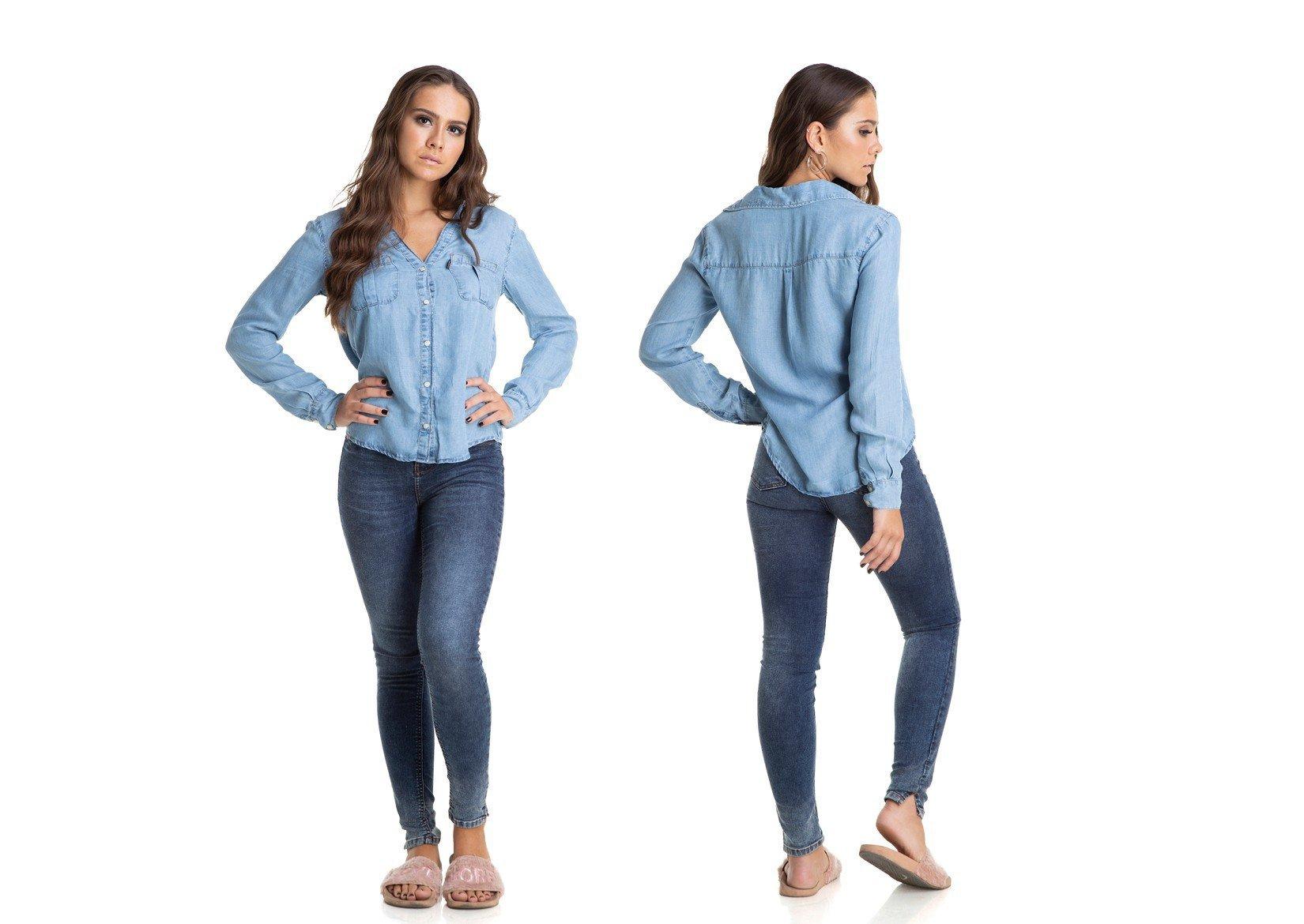 35ee42dd9f Camisa Jeans Feminina Manga Longa Solta Clara - DZ11137