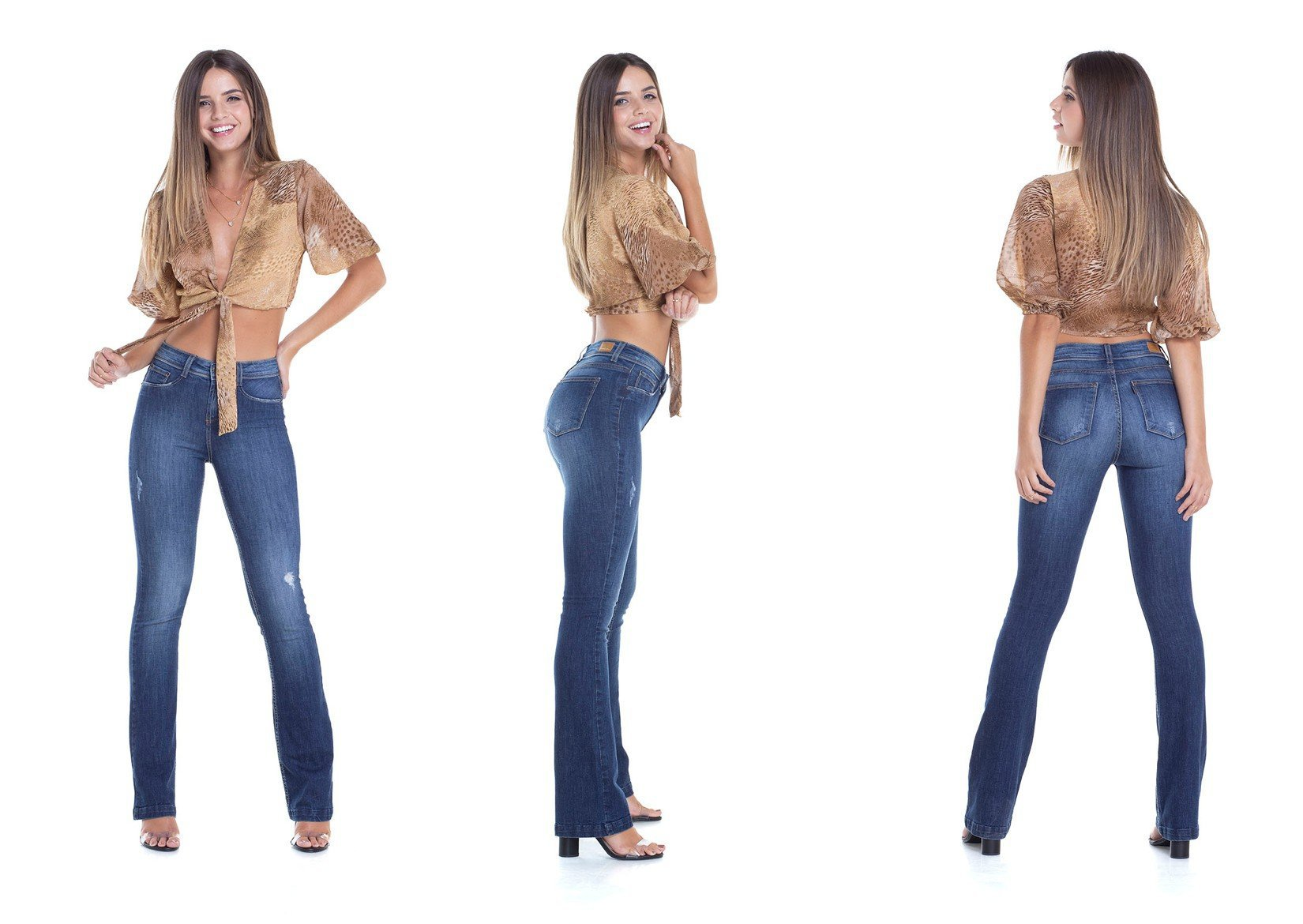 dz2914 calca boot cut media puidos denim zero trio decsricao