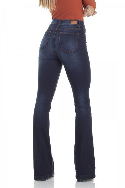 5baa53b62 ... dz2928 calca jeans flare media com linhas constrastantes costas prox denim  zero ...