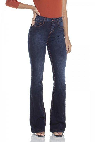 dz2928 calca jeans flare media com linhas constrastantes frente prox denim zero