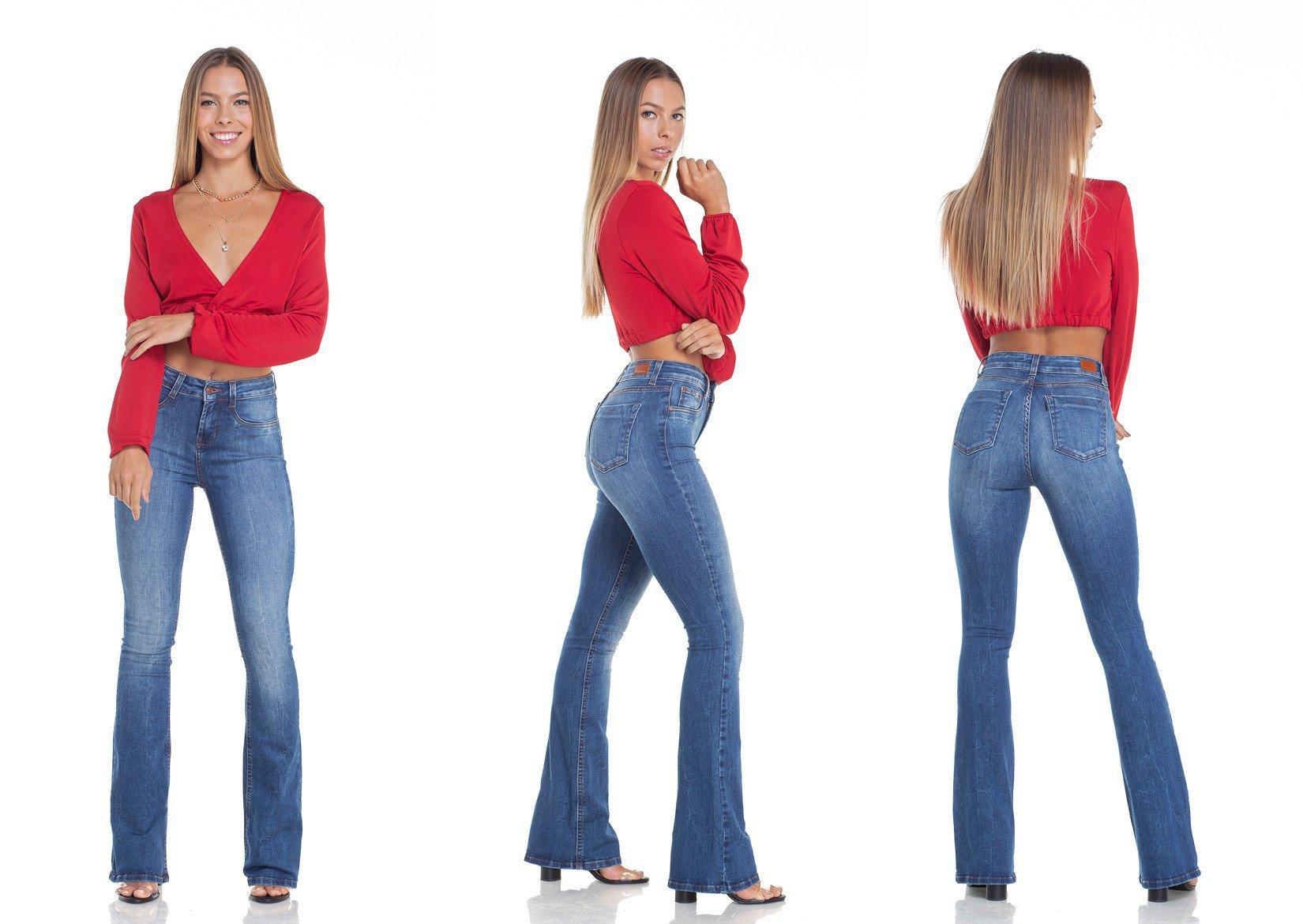 dz2916 calca jeans flare media estonada tripla denim zero