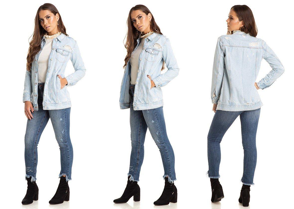 dz9090 jaqueta oversize puidos clara denim zero trio