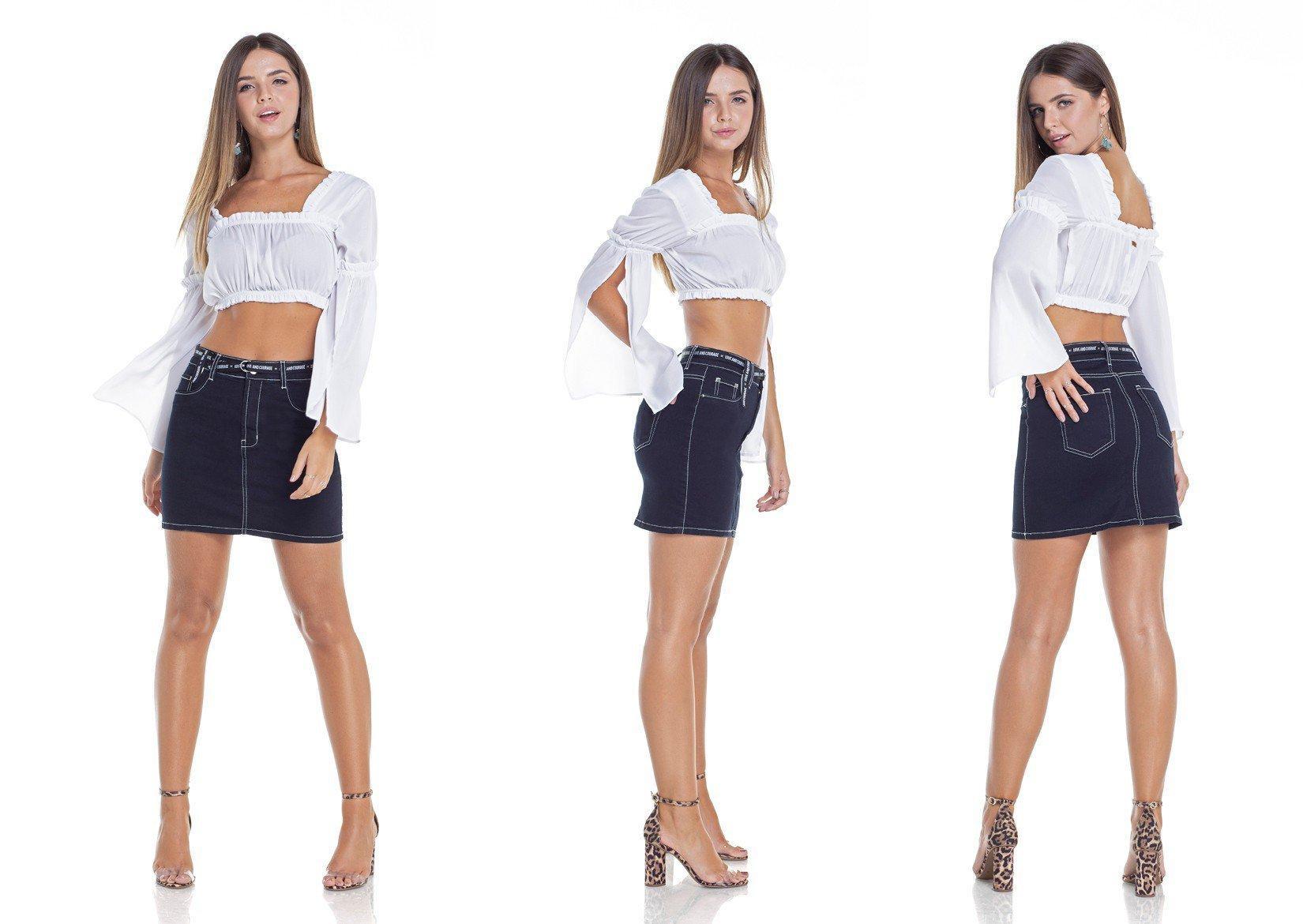 dz7095 saia jeans tubinho com linhas contrastantes tripla denim zero