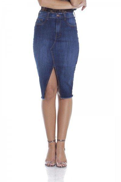 dz7096 saia jeans lapis com fenda frente crop denim zero
