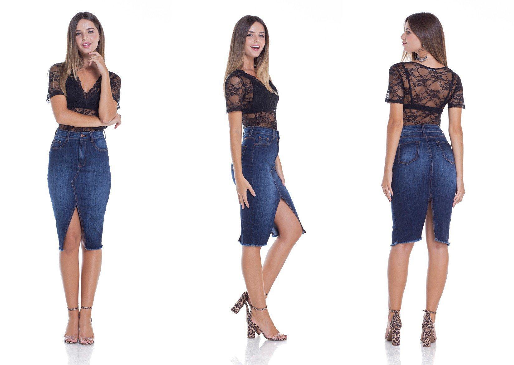 dz7096 saia jeans lapis com fenda tripla denim zero